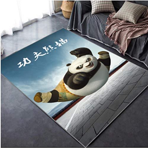 LSXA Alfombra 3D Cartoon Animal Cute Kung Fu Panda Sala De Estar Dormitorio Habitación De Los Niños Sofá Mesa De Centro Diseñador De Moda Estudio Sala De Estar Mesita De Noche Cómodo Estera