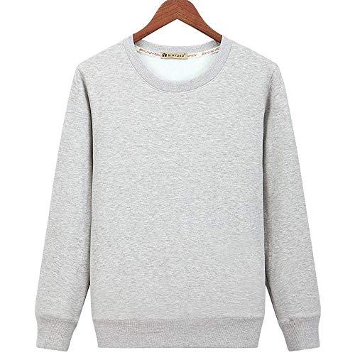 WANCHDP Sudadera de manga larga para hombre, 100 % algodón, cuello redondo, con forro de terciopelo grueso, para todo tipo de deportes, jersey cálido Plus terciopelo gris. XXXXL