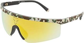 Police - Gafas de sol Lewis 07 SPLA28 XAJG 99-0-115 unisex de camuflaje engomado, lentes marrones