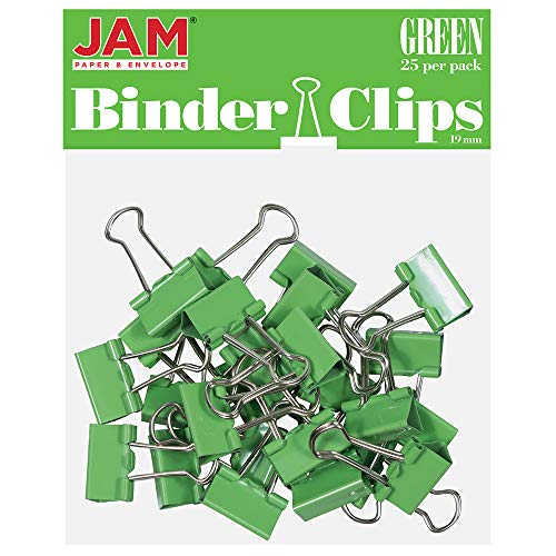 JAM PAPER Colorful Binder Clips - Small - 3/4 Inch (19 mm) - Green Binderclips - 25/Pack