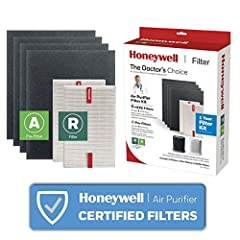 """HEPA FILTER REPLACEMENT KIT – This value combo pack of air purifier filters is a one-year supply for the HPA200 and HPA5200 series, and includes 4 """"A"""" (pre-cut) Carbon Pre-Filters and 2 Honeywell R HEPA filters. HELPS REMOVE MICROSCOPIC AIRBORNE PART..."""