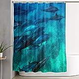 VINISATH Cortinas de Ducha,Nado con Delfines,Cortina de baño Decorativa para baño,bañera 180 x 180 cm