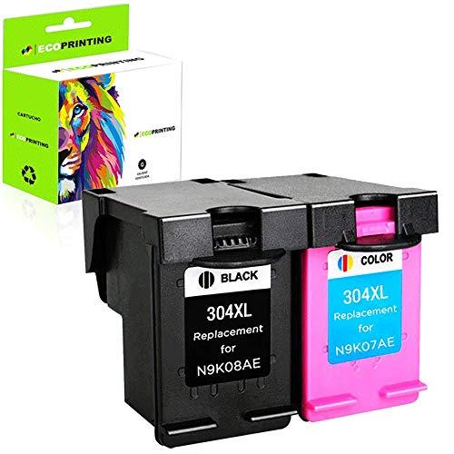 Ecoprinting Remanufacturado 304XL 304 Compatibles con HP 304 XL Cartucho de Tinta para DeskJet 2622 2633 2634 3720 3730 3733 3735 3750 3760 3762 3764AIO ENVY5010 5020 5030 5032AIO AMP130