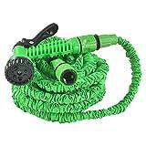 Juskys Flexibler Gartenschlauch Aqua mit Brause | 15 m | flexibel, dehnbar & knickfest | Adapter 1/2 Zoll & 3/4 Zoll | grün | Flexschlauch