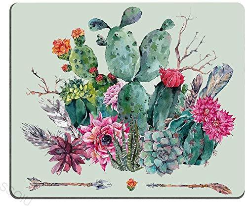 Cactus Mouse Pad,Frühlingsgarten mit Boho Style Bouquet von dornigen Pflanzen Blüten Pfeile Federn,es,Multicolor-10x12inch