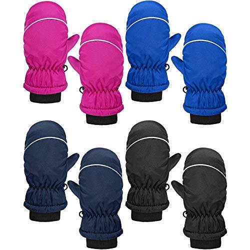 Sonnena 4 Paare Skihandschuhe Kinder Anfänger wasserdichte Fäustlinge Warm Winterhandschuhe Outdoor Winddichte Sport Schnee Handschuhe für Alter 5-11 Jahre Junge Mädchen