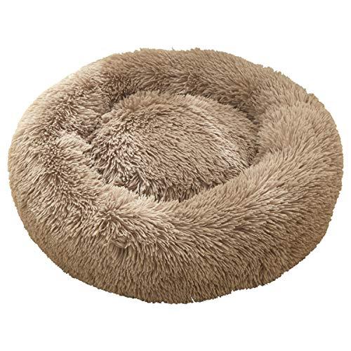 Flysheep 猫ベッド 猫ハウス 猫クッション ペットハウス ペットベッド ペットクッション ドーム型 ふわふわ 猫ソファー 暖かい モチモチ 60x60cm ブラウン