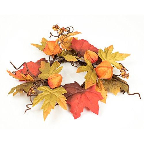 Herfstblaadjes Kaars Ring Koper en Verbrand Oranje Geschikt voor 7cm Pijler Kaars