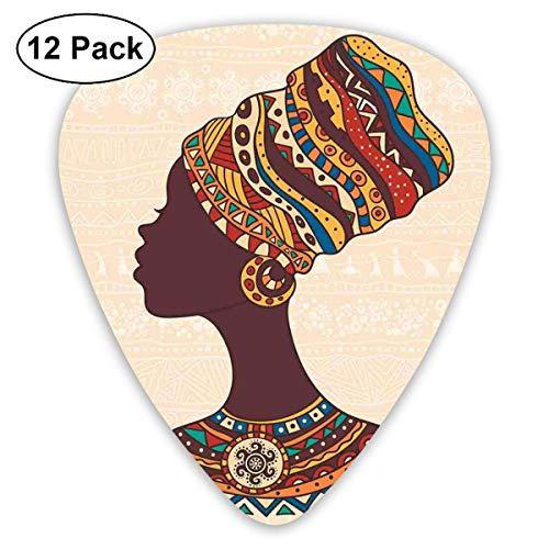 Gitaar Picks12 stks Plectrum (0.46mm-0.96mm), Afrikaanse Vrouw In Traditionele Etnische Mode Jurk Portret Glamour Graphic,Voor Uw Gitaar of Ukulele