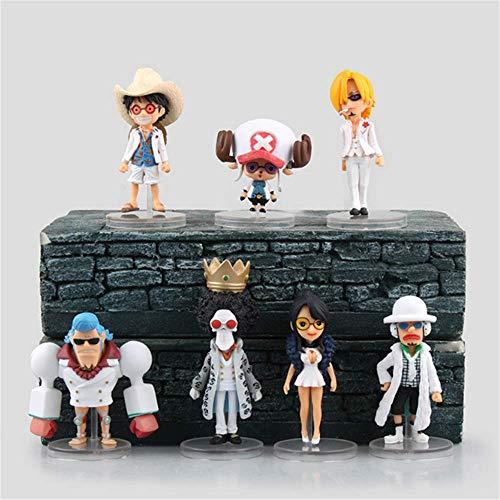 ADISVOT Juego De Figuras De Una Pieza De 7 Piezas (versión Teatral) Tony Tony Chopper Luffy Ropa Blanca Estatua De Personajes De Anime, con Base, Figuras De Minifiguras De Dibujos Animados Bonitos