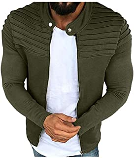 Men Long Sleeve Jacket Casual Active Uniform Pure Color Pleated Outwear Zip Overcoat Male Bodybuilding Clothing