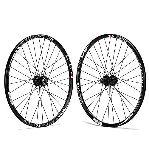 BUCKLOS Mountain Bike Wheelset 26/27.5/29 Inch, Aluminum Alloy Rim 32H Disc Brake MTB Wheelset, Quick Release Front Rear Wheels Black Bike Wheels, Fit 7-11 Speed Cassette Bicycle Wheelset