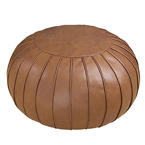 """Thgonwid Handmade Suede Pouf Footstool Ottoman Faux Leather Poufs 23"""" x 14"""" - Storage Round Floor Cushion Footstool for Living Room, Bedroom or Wedding Gifts (Unstuffed) (Brown)"""