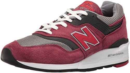 New Balance Mens 997 Suede Low Top Running Shoes Red 8 Medium (D)