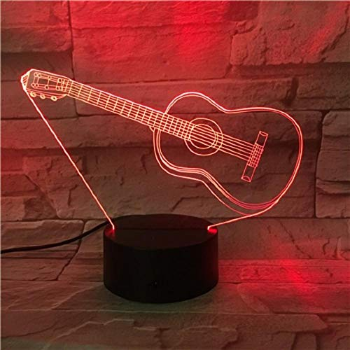 Fashion Guitar Led 3D Lamp Remote Touch Control Light Children Birthday Present Home Bar Store Deco Musical Instruments