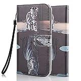 Funda Libro para Samsung Galaxy A51 4G 2020 Carcasa de Cuero PU Premium Flip Wallet Case Cover con Tapa Teléfono Piel Tarjetero - Gato y Tigre