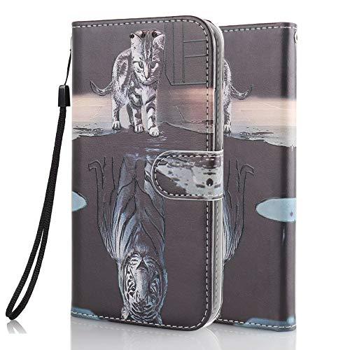 Funda Libro para Samsung Galaxy S10 Carcasa de Cuero PU Premium Flip Wallet Case Cover con Tapa Teléfono Piel Tarjetero - Gato y Tigre