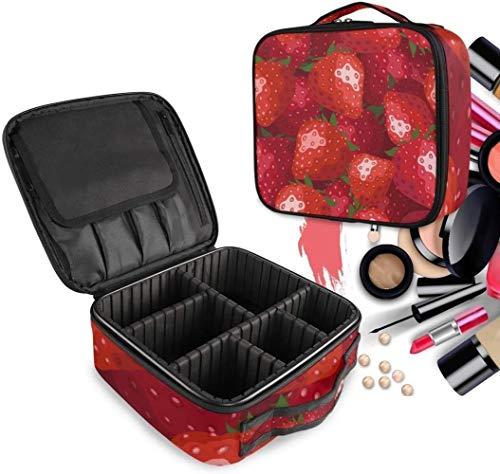 Cosmétique HZYDD Art Red Strawberry Make Up Bag Trousse de Toilette Zipper Sacs de Maquillage Organisateur Poche for Compartiment Femmes Filles Gratuit