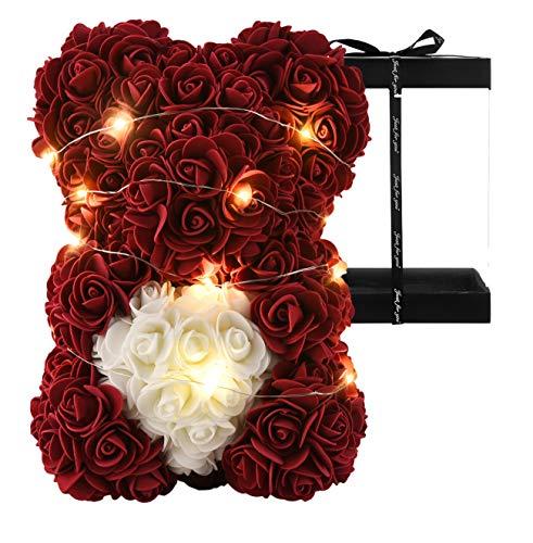 """Oso de peluche rosa de 10 """"ositos de flores con luces, para siempre, flores artificiales, regalo para el día de San Valentín, color rojo"""