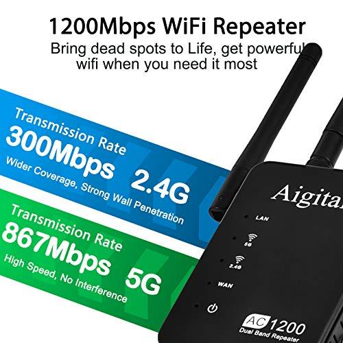 Aigital Ripetitore WiFi 1200Mbps, Estensore WiFi Dual Band AC+N Amplificatore Segnale WiFi con Porta LAN/4 Antenna/WPS modalità Repeater/Access Point/Router/Compatibile con Modem Fibra e ADSL-WN539