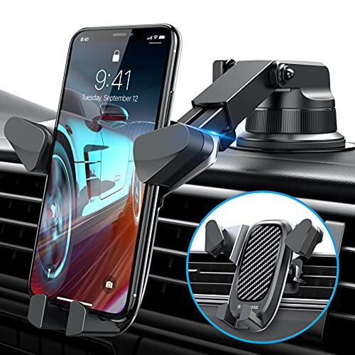 VANMASS Gravity Car Phone Mount, Newest Auto Clamping Car Phone Holder Mount, Univarsal Handsfree Phone Stand for Car Dash Windshield Vent Compatible iPhone 12 11 Pro Max X 8 7 Galaxy S21 S20 Note 20