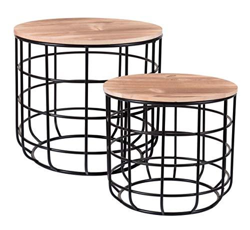 Metalen bijzettafel zwart met houten tafelblad - set van 2 - salontafel salontafel woonkamer tafel met afneembare houten plaat