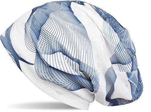 styleBREAKER Beanie Mütze mit asymetrischem Guilloche Muster im Destroyed Vintage Look, Unisex 04024073, Farbe:Blau-Weiß