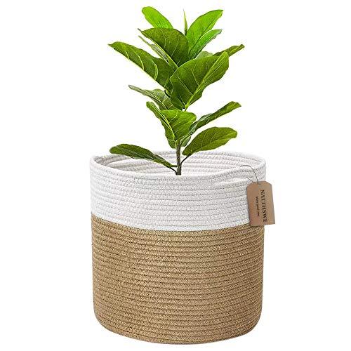 Cestas para Plantas ,decoración de macetas de interior plegable, canasta de lavandería, canasta de almacenamiento para el hogar (Khaki con blanco, 25 x 25 cm)