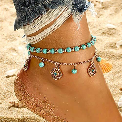 Bohend Boho Playa Tobillera Oro Turquesa Pulsera Multicapa Tobilleras Grano Colgante Ajustable Cadena de pie Joyería Para Mujeres Y Chicas