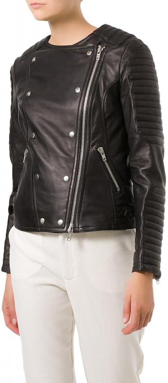 Leather Women's Lambskin Leather Bomber Biker Jacket W098