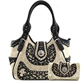 Zelris Western Albino Western Floral Buckle Conceal Carry Women Tote Purse Handbag with Crossbody Wallet Set (Beige)