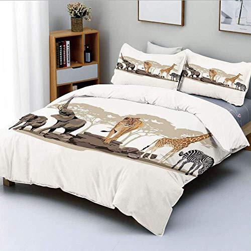 Bettbezug-Set, Illustration von Wilden Savannen Afrikanische Tiere Exotische Giraffe Löwe Elefant ZebraDecorative 3-teiliges Bettwäscheset mit 2 Kissen Sham, Mehrfarbig, Kinder EAS