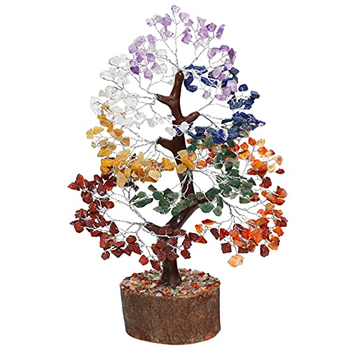 Crocon - Árbol bonsái del dinero con piedras preciosas naturales y curativas para buena suerte, riqueza y prosperidad, regalo espiritual de 10 a 12 pulgadas