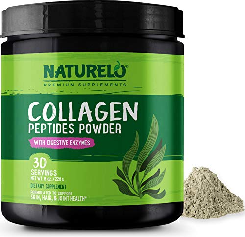 NATURELO Collagen Peptides Powder - Supplement for Skin, Hair, Joint Health - Organic Spirulina - 14 Amino Acids - Grass Fed - Hydrolyzed - Digestive Enzymes for Better Absorption - 30 Servings
