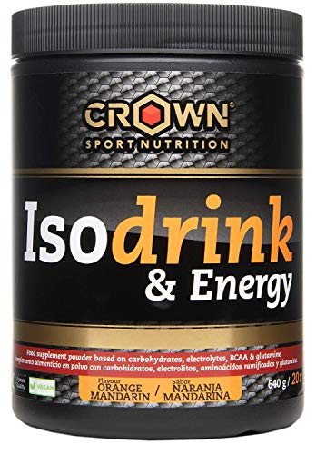 Crown Sport Nutrition Isodrink & Energy - Maximise Endurance Hydration & Performance - Carbohydrates, Electrolytes, BCAAs and Glutamine - Orange Flavour 640 Grams