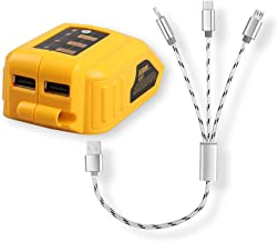 DCB090 USB Power Source Converter with 3 in 1 USB Cable for Dewalt 14.4V 18V 20V DCB120, DCB121, DCB127, DCB140 Lithium-Ion Slide Style Battery