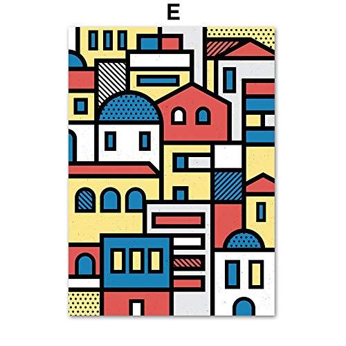 UIOLK Pintura de Arte Multicolor líneas abstractas niña Elefante árbol Edificio Arte de la Pared Lienzo Pintura Carteles nórdicos e Impresiones Pintura Decorativa de la Pared Aniversario cumpleaños