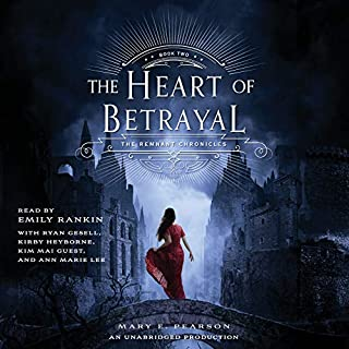 The Heart of Betrayal     The Remnant Chronicles              Written by:                                                                                                                                 Mary E. Pearson                               Narrated by:                                                                                                                                 Emily Rankin,                                                                                        Ann Marie Lee,                                                                                        Ryan Gesell,                   and others                 Length: 13 hrs and 45 mins     18 ratings     Overall 4.7