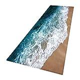 Smilikee Badteppiche, 3D gedruckt Ocean Beach Sands Holzbrett verdickt Flanell Stoff rutschfeste Badematten für Bad Küche Boden Teppich