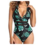 LANSKIRT Bikins Mujer 2020 Sexy Traje de Baño Una Pieza de Encaje Sexy de Talla Grande Bikinis Trikini Biquini Estampadas Planta Verde Bohemios Ropa de Playa Moda Bañadores Verano