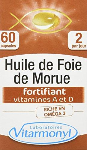 Vitarmonyl - Huile de Foie de Morue - Oméga 3, Vitamine A Et D d'Origine Naturelle - Fabriquée en France - 60 Capsules