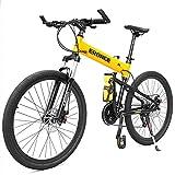 ZHTY Bicicletas de montaña para niños Adultos, Bicicleta de montaña rígida con Marco de suspensión Completa de Aluminio, Bicicleta de montaña Plegable, Bicicleta de montaña con Asiento Ajustable
