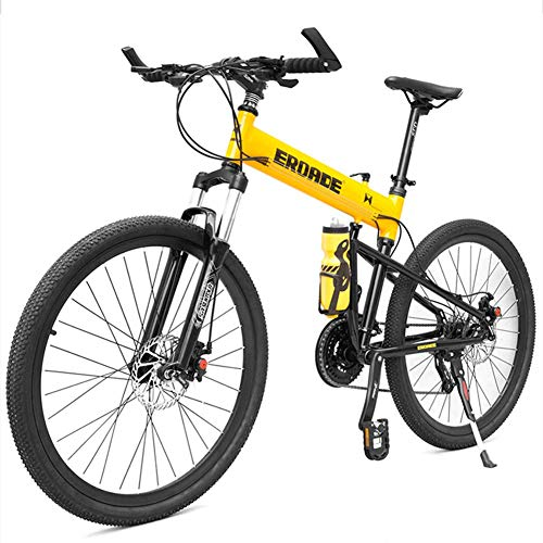 DJYD Erwachsene Kinder Mountainbikes, Aluminium Full Suspension Rahmen Hardtail Mountainbike, Folding Mountain Fahrrad, Verstellbarer Sitz, Schwarz, 29-Zoll-30-Speed FDWFN