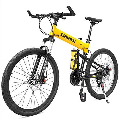 WEIZI Mountain Bike per Bambini per Adulti Mountain Bike Hardtail con Telaio a Sospensione Completa in Alluminio Mountain Bike Pieghevole Sedile Regolabile Giallo 29 Pollici 30 velocità