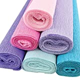 WHAT'S INCLUDED: Six (6) Premium Quality Crepe Paper Rolls, each 20-inches in width and 8-feet in length, in the following colors: Rose Quartz, Bubblegum Pink, Wisteria Purple, Iris Purple, Baby Blue, Blue Lagoon FABULOUS FLOWERS: Crepe Paper flowers...