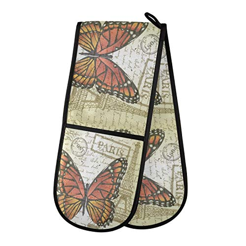 TropicalLife DLBBABZ - Manoplas de horno dobles antideslizantes con diseño de mariposas, diseño retro de animales, resistentes al calor, para cocinar y asar