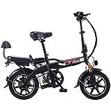 Gpzj Bicicleta eléctrica Plegable con batería extraíble de Iones de Litio de 48V 12A, Motor de 350W y neumático a Prueba de explosiones, Doble suspensión