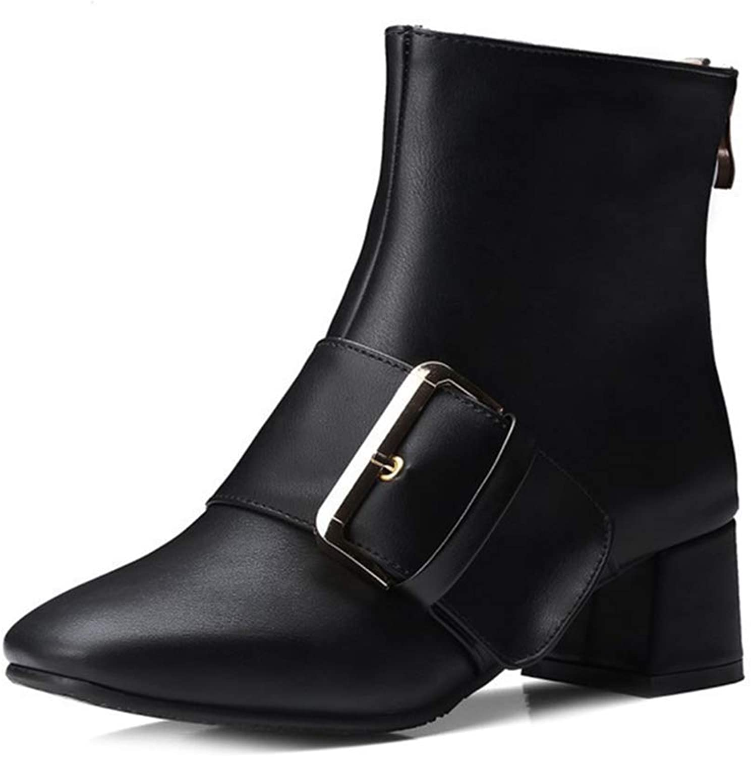 Beautiful - Fashion Women's Classic Western Buckle Ankle Boots Platform Round Toe Mid Heel Studded Riding Short Booties