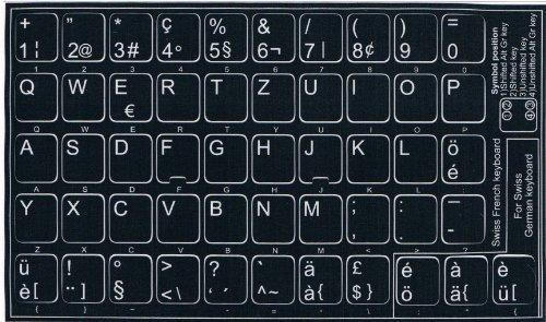 Tastaturaufkleber mit deutschem / schweizer Tastaturlayout, selbstklebend, schwarzer Hintergrund