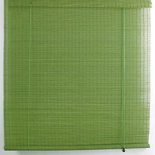 Yajun Persianas Enrollables de Bambú Retro Cortina de Partición de Habitación Interior Estor Enrollable de Balcón Decoración Screen de Filtrado de Luz Verde,120 * 200cm